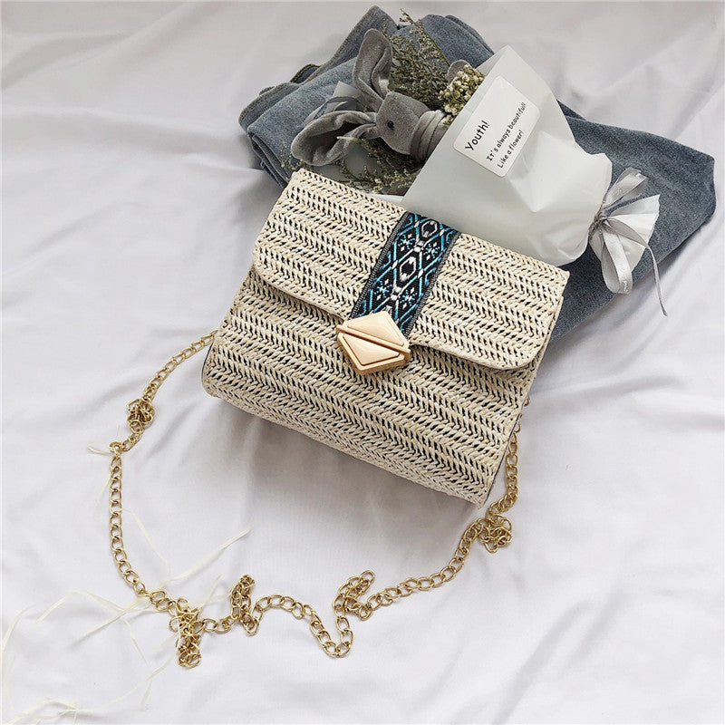 One-shoulder Straw Small Bag Female Fashion Wild Simple Casual Girl Chain Bag
