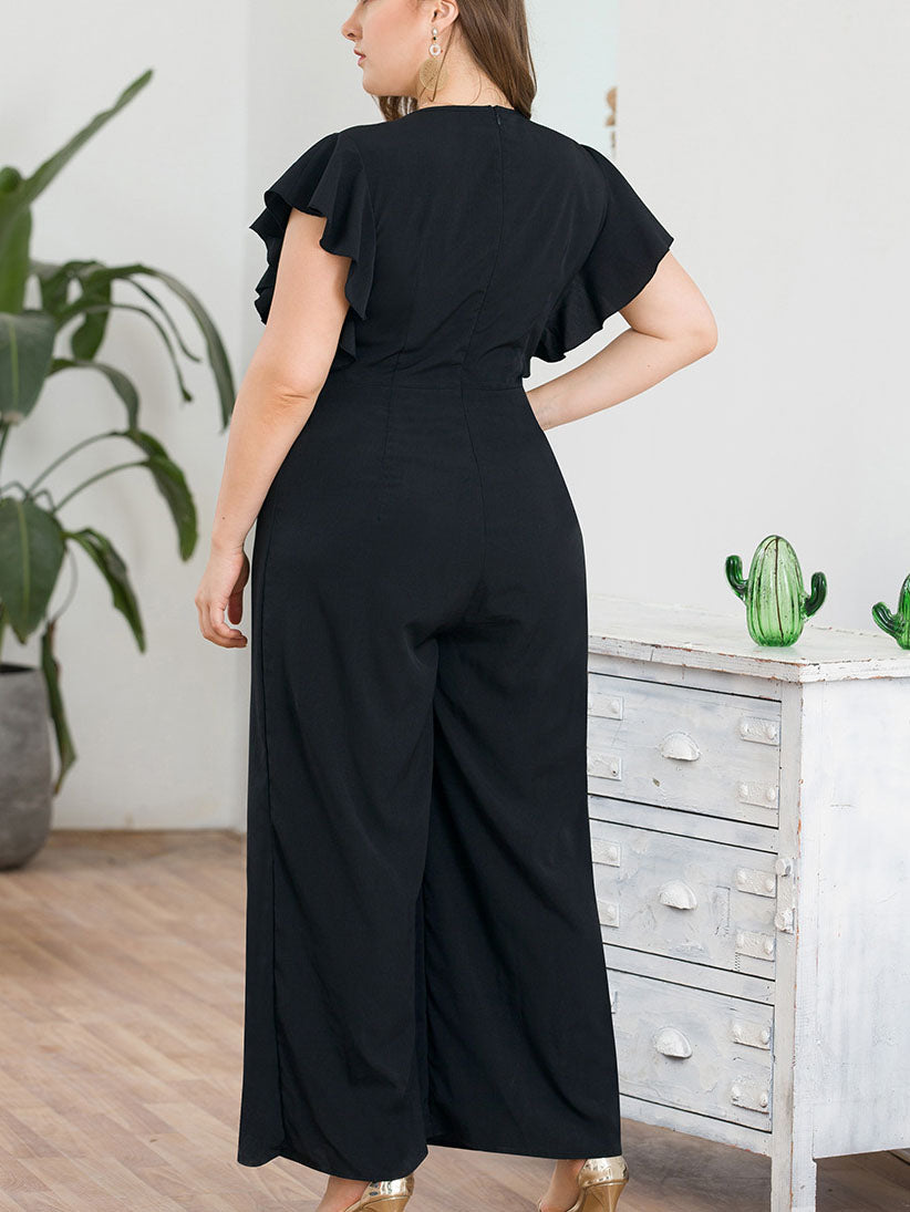 Ruffled Flying Sleeves V-neck High Waist Wide Leg Large Size Women's One-piece Trousers