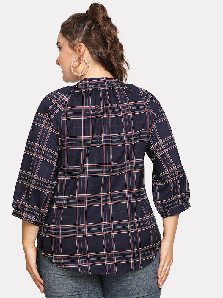 New V-neck Scottish Plaid Long-sleeved Shirt