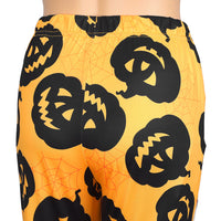 Halloween Pumpkin Lamp Print Slim Body Warm Leggings