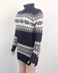 Christmas Turtleneck Sweater Dress Long Snowflake Sweater