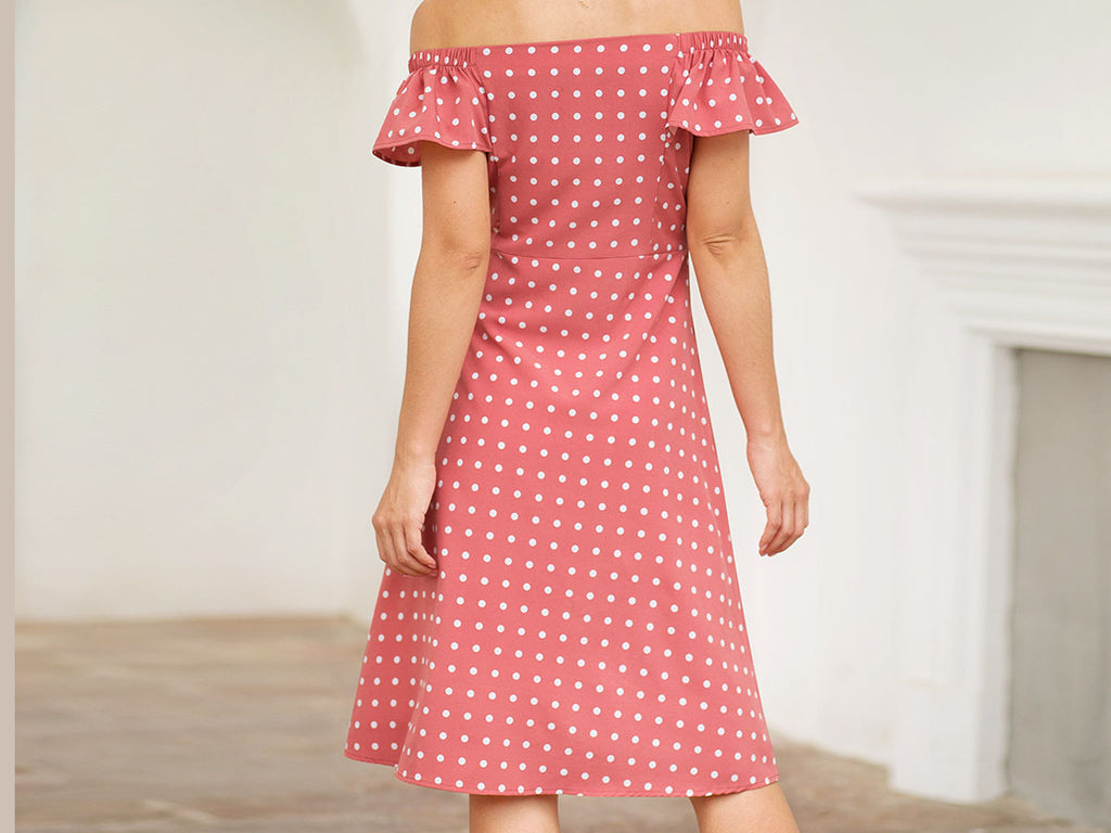 New Ruffled Short Sleeve One-Shoulder Single-Piece Polka Dot Print Slim Dress
