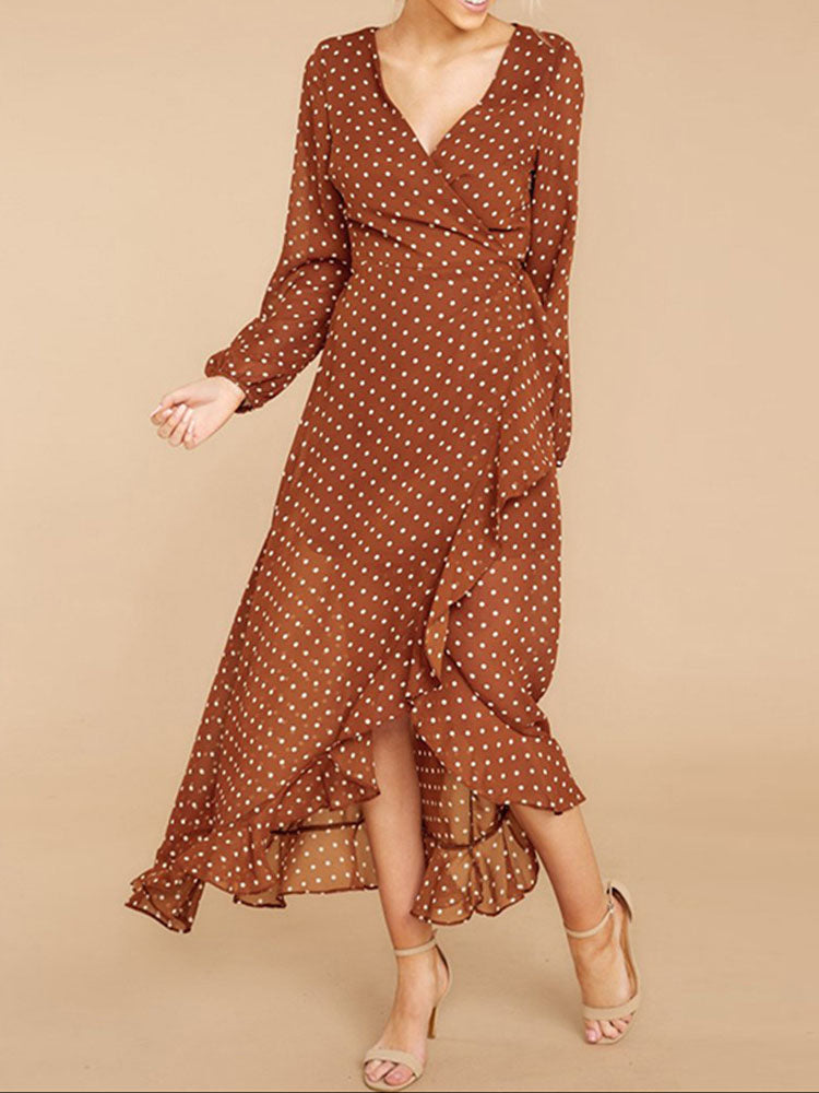 Long-sleeved Polka-dot Ruffled Split Skirt Dress Maxi Skirt