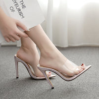 Women's Sandals Silver Set Feet Toe Stiletto High Heel Slippers Large Size
