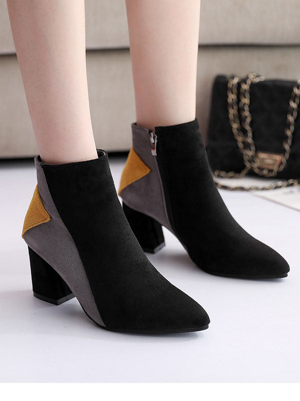 Autumn and Winter Boots High Heel Thick with Pointed Scrubs Martin Boots Side Zipper Boots