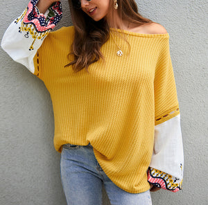New Autumn and Winter Knit Stitching Top Sweater
