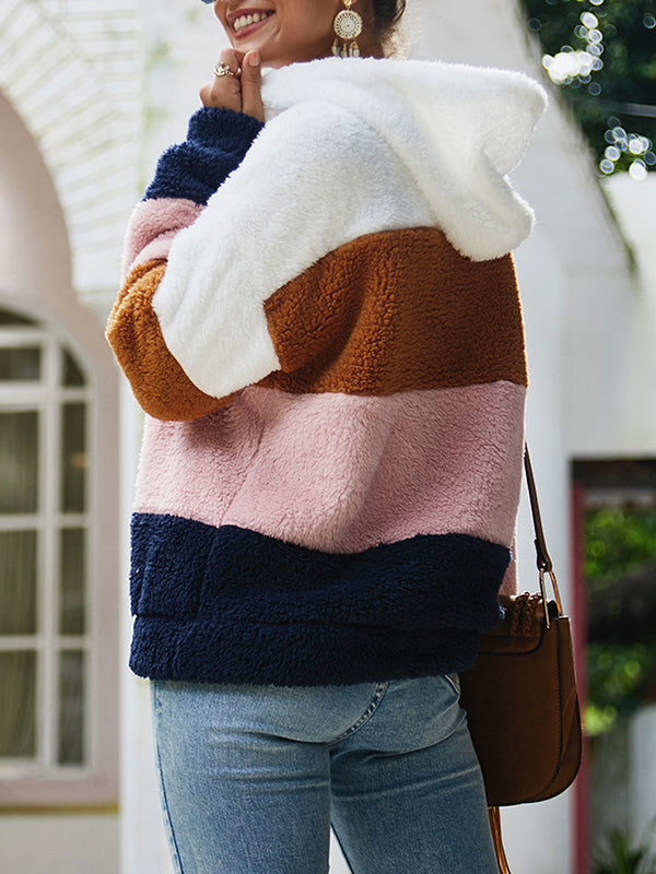 Autumn and Winter Stitching Plush Sweater Top
