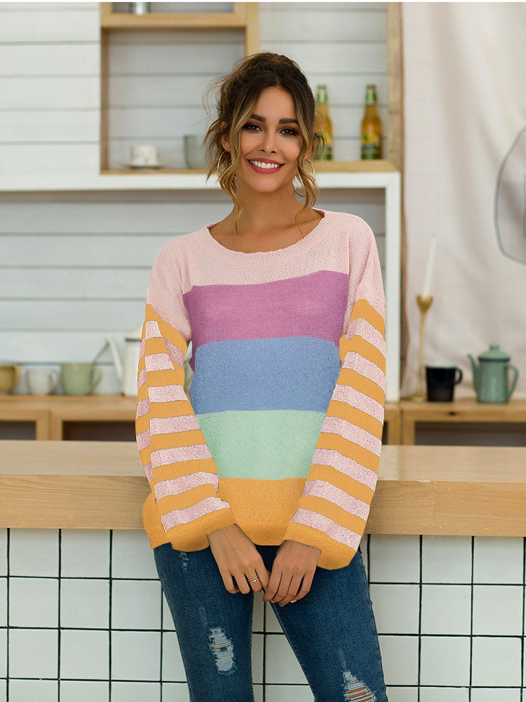 Women's Five-color Striped Stitching Long-sleeved Loose Knit Sweater Pullover