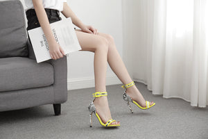 Summer New Yellow One-button Buckle with Open Toe Stiletto Super High Heel Sandals