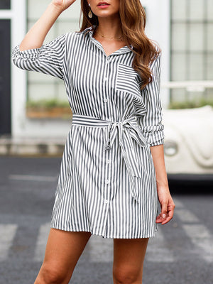 New Lace-up Long-sleeved Striped Fashion Shirt Dress Skirt