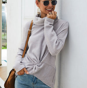 Fashion High Collar Solid Color Sweater
