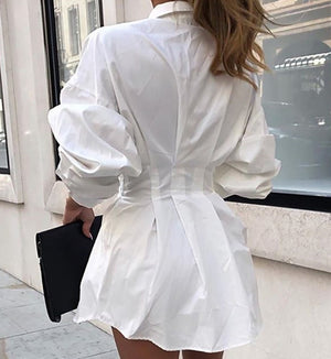 Women's Autumn and Winter Long-sleeved Lapel Shirt Waist Sexy Shirt Skirt Single-breasted Solid Color Shirt