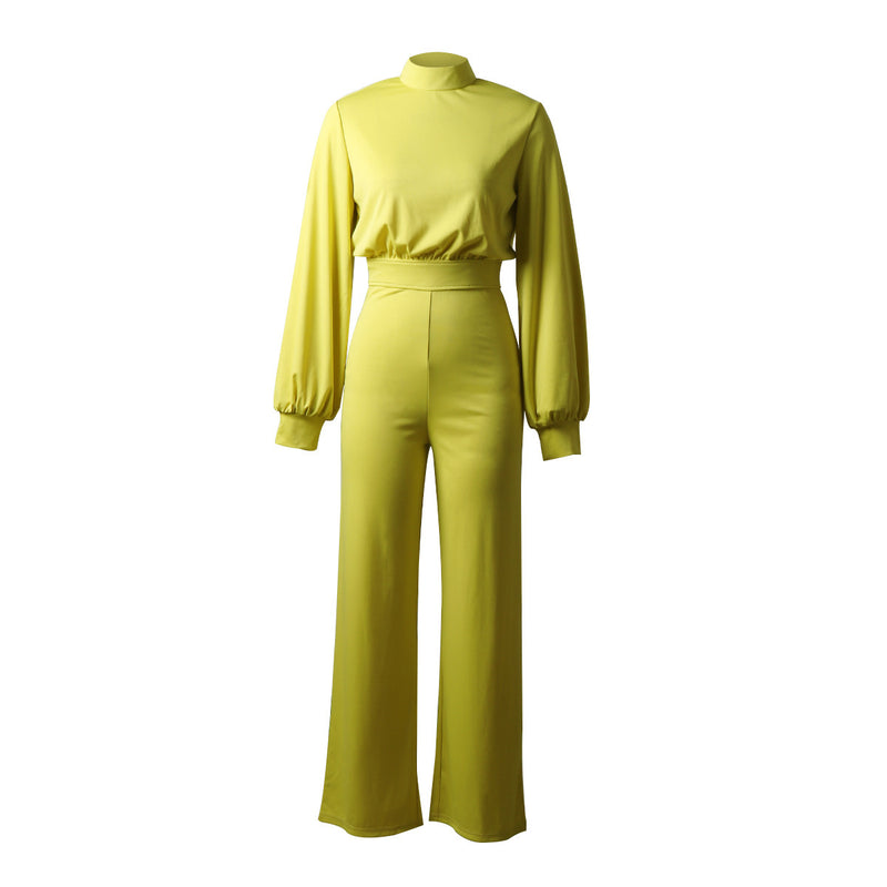 Solid Color High Collar Long Sleeve Casual Jumpsuit