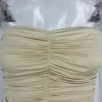 Women's Pleated Sexy Tube Top Bag Hip Dress