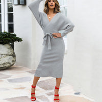 Autumn and Winter Fashion Dress Solid Color Bat Sleeve Dress