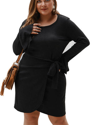 Autumn and Winter Long Sleeve Woolen Dress