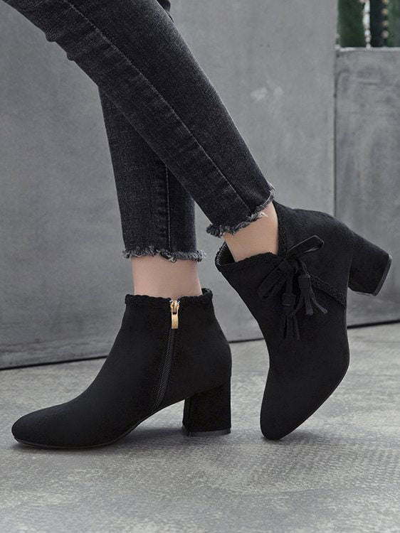 Autumn and Winter Bow Thick with Ankle Boots Female High-heeled Pointed Martin Boots Women's Suede Shoes