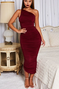 Fashion Women's One-shoulder Pleated Skinny Solid Color Dress
