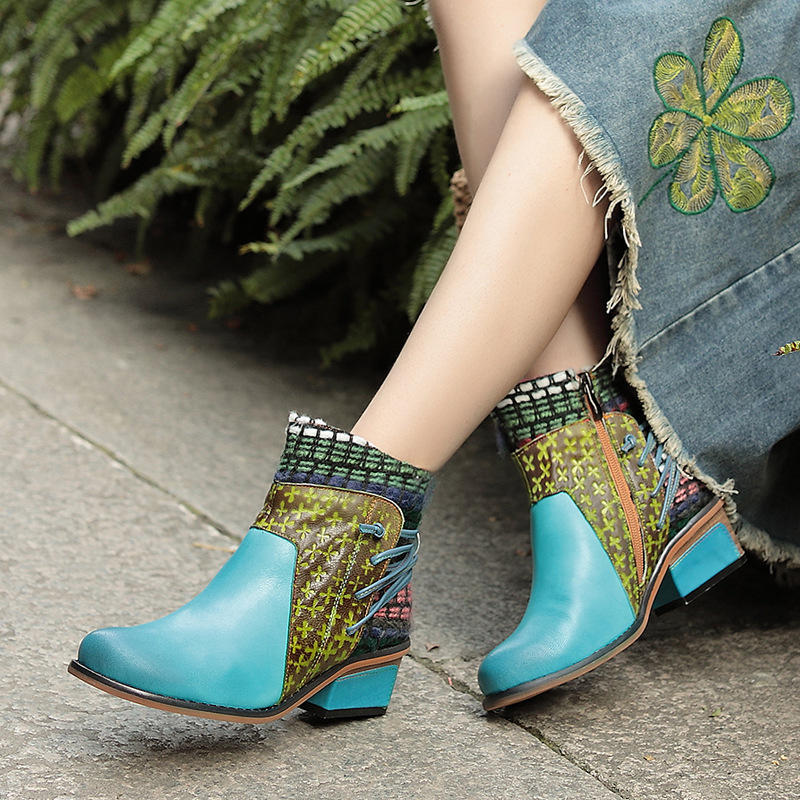 Autumn and Winter Fashion Leather Cotton Ankle Boots Women's Round Head Comfortable Boots