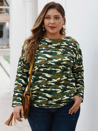 Autumn and Winter Camouflage Long-sleeved T-shirt Sweater Top
