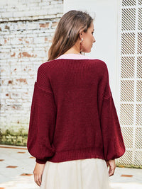 Original Design Women's Autumn New Round Neck Sweater Long-sleeved Openwork Sweater