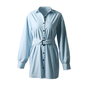 Solid Color Lapel Tie Waist Sexy Shirt Dress