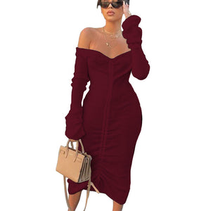 Off-the-shoulder Long-sleeved Long Solid Color Drawstring Autumn and Winter Women's Dress