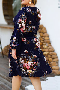 Long-sleeved V-neck Tie with High Waist and Large Size Women's Printed Dress