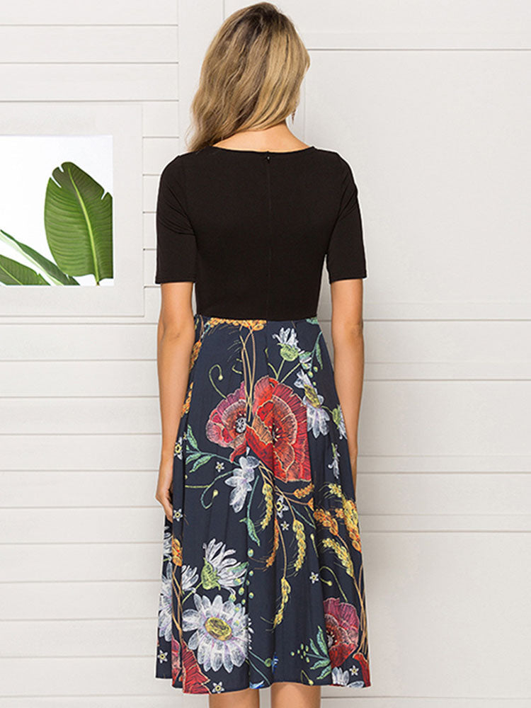 Spring and Autumn Print Stitching Women's Dress Slim Fit High Waist Party Dress