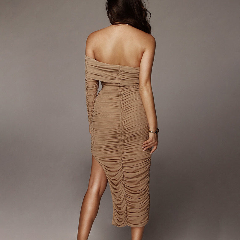 Summer New Mesh Single-sleeve Oblique Shoulder Split Skirt Pleated Dress
