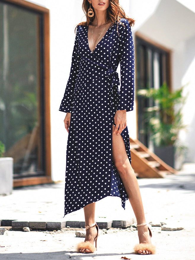 Temperament Polka Dot Long Sleeve V-neck Dress