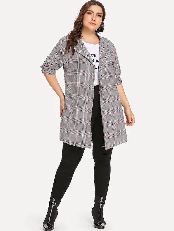 Large Size Women's Fat Mm Long Sleeve Plaid Jacket