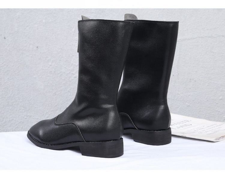 Guidi Boots Retro Martin Boots Female Front Zipper Short Tube Inside High Flat Bottom Round Head Wild Back Boots