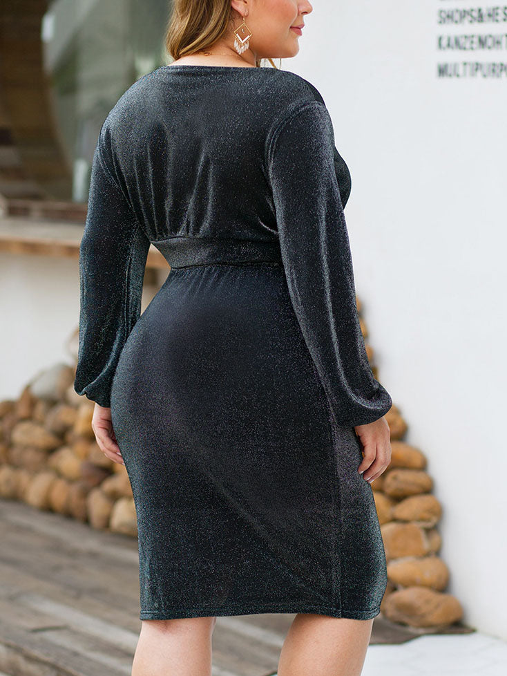 Sexy Deep V Long-sleeved Vest Top High Waist Bag Hip Skirt Suit Large Size Women's Two-piece Suit