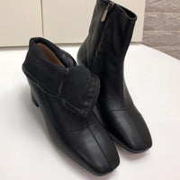 Autumn and Winter Leather Sheepskin Comfortable Soft Leather Thick with Low Heel Boots