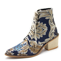 Autumn and Winter Retro Satin Embroidered High-heeled Thick with Pointed Lace Boots Women's Large Size