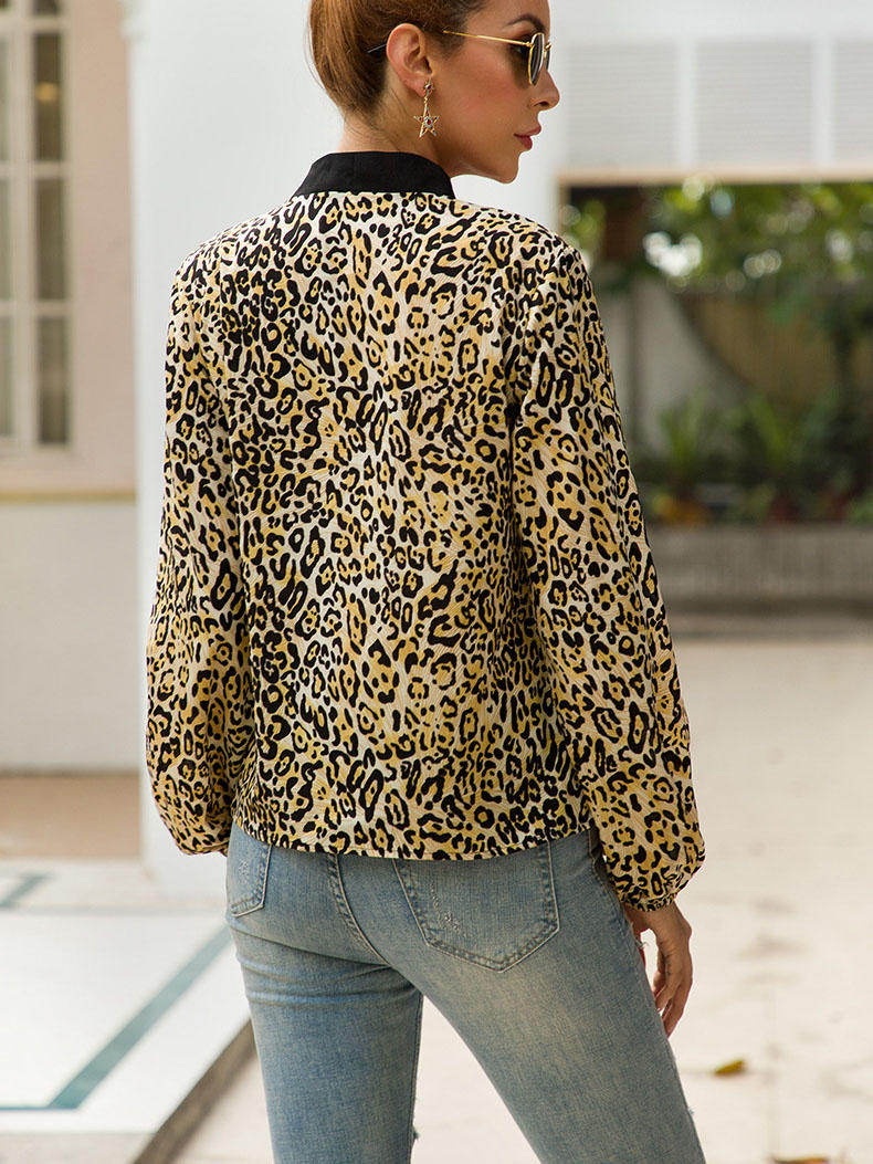 Original Design with Bow V-neck Long-sleeved Leopard Fashion Wild Ladies Shirt