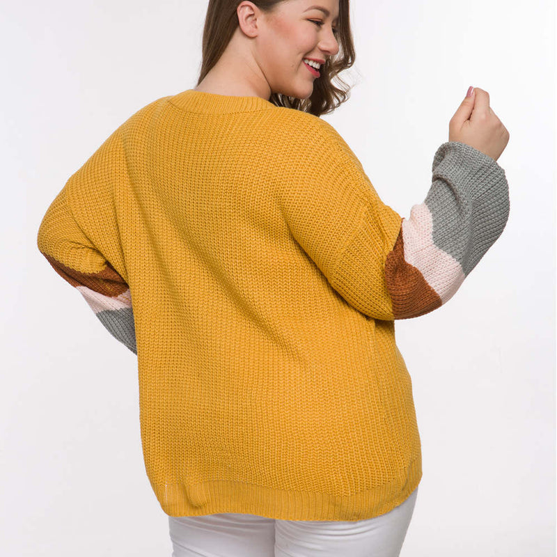 Long Sleeved Head V-neck Color Matching Fat Woman Autumn and Winter Large Size Sweater 2 Colors