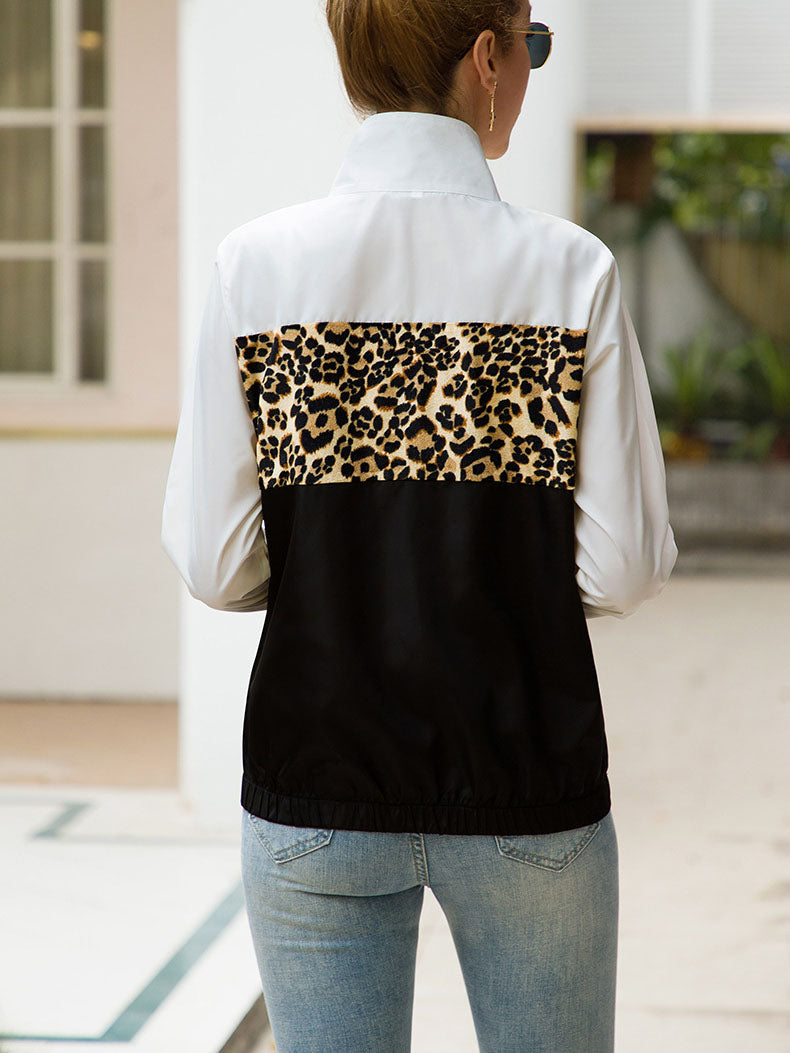 Original Design Fashion Contrast Color Leopard Stitching Jacket Jacket Windbreaker Jacket