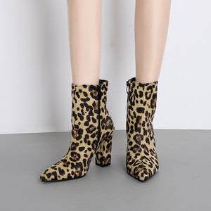 Sexy Snake Martin Boots Thick with Zipper Pointed Booties Women's Boots