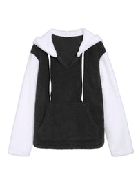 Original Design Autumn and Winter New Sexy V-neck Hooded Sweater Loose Hit Color Velvet Jacket