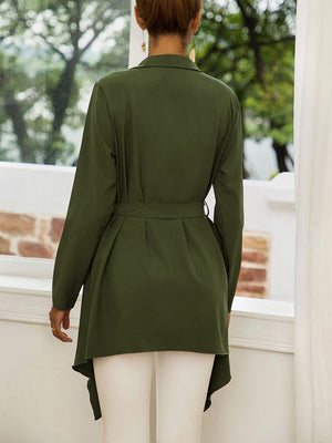 Autumn and Winter Fashion Wild Tie Belt Waist Long Sleeve Bat Cardigan Ladies Coat