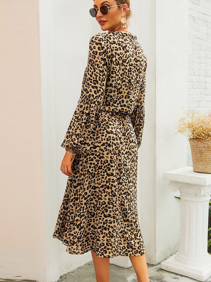 Leopard Long-sleeved Mid-length Dress