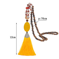 Agate Pendant Beaded Tassel Necklace National Art Sweater Chain Pendant