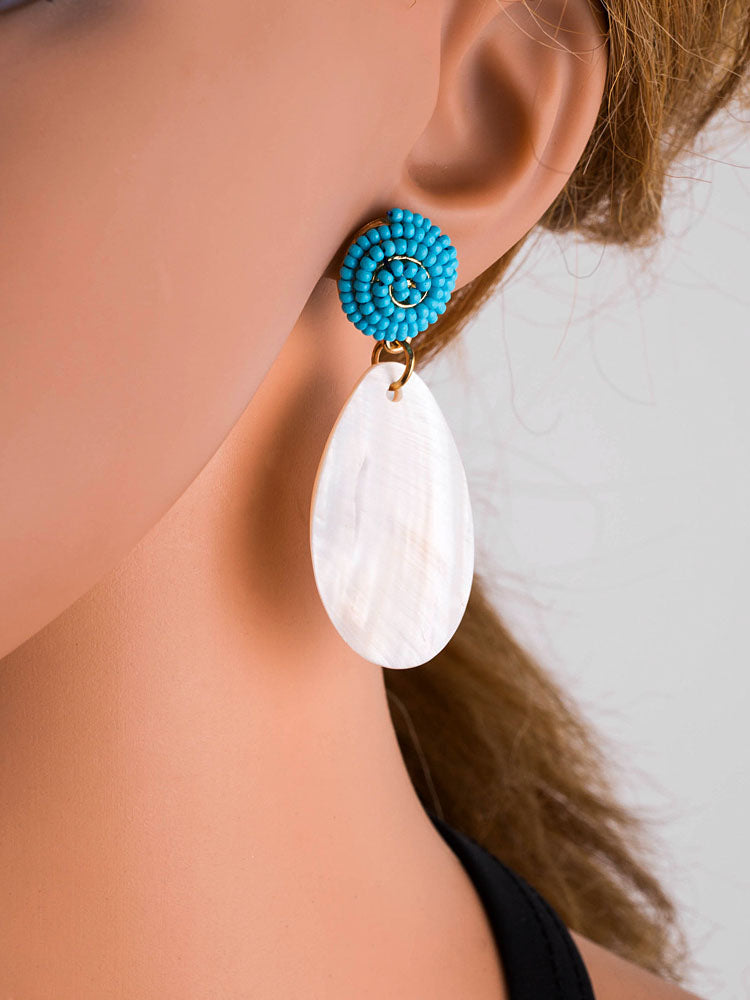 Beaded Acrylic Petal Drops Long Shell Earrings Female