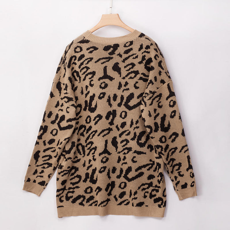 Large Size Women's Autumn and Winter Fat MM Round Neck Leopard Loose Sweater