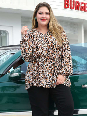 Leopard Print V-neck Long-sleeved Shirt Lace-up Waist Large Size Long Shirt
