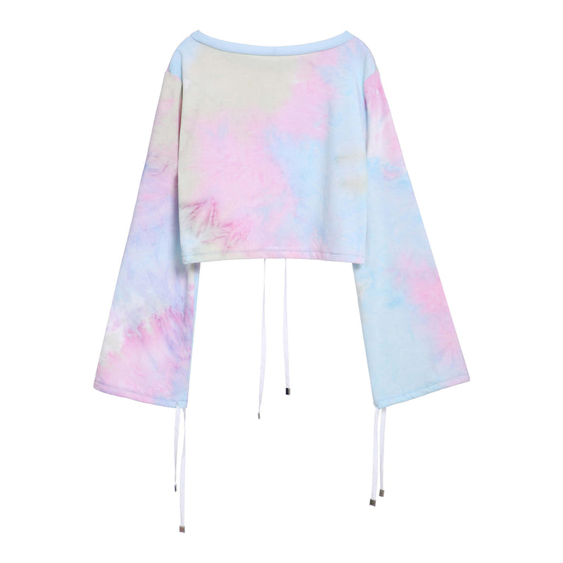 Original Design Autumn and Winter New Beam Mouth Short Tie Dyed Pullover Sweater Women