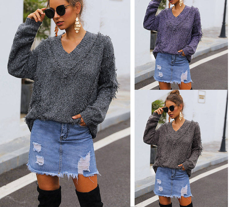 Autumn and Winter Women's Heart-shaped Collar Pullover In The Long Sweater Tassel Thick Sweater