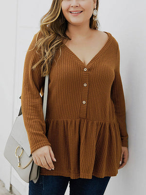 Fat Mm Autumn and Winter V-neck Long-sleeved Sweater Long Shirt